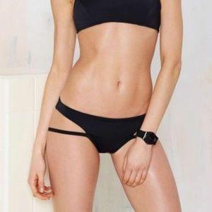 Nasty Gal Black Bottom Line Strappy Bikini Bottom